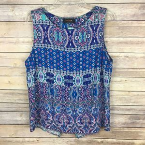 NWT Renee C Tank Top Small Blue Pink
